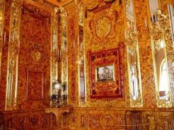 The famous amber room is a chamber that is intricately adorned with amber panels, mirrors, and gold leaves