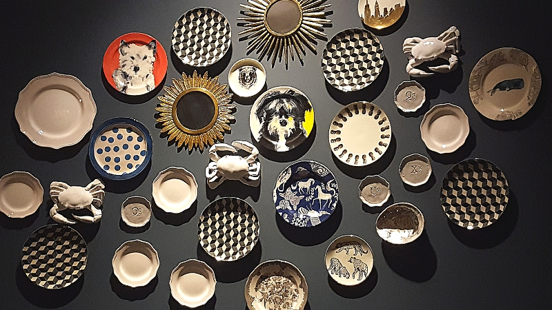 feature wall of various decorative plates