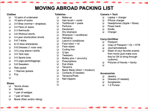 Customizable Moving Abroad Packing Check List