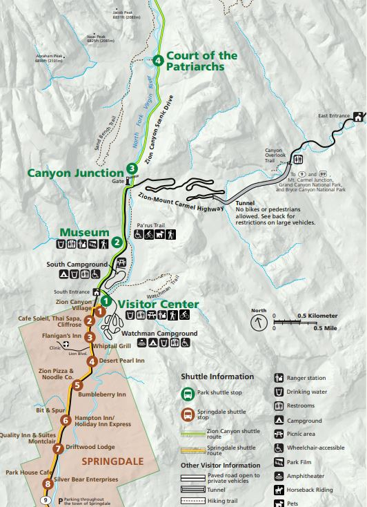 map of Zion Mt Carmel highway