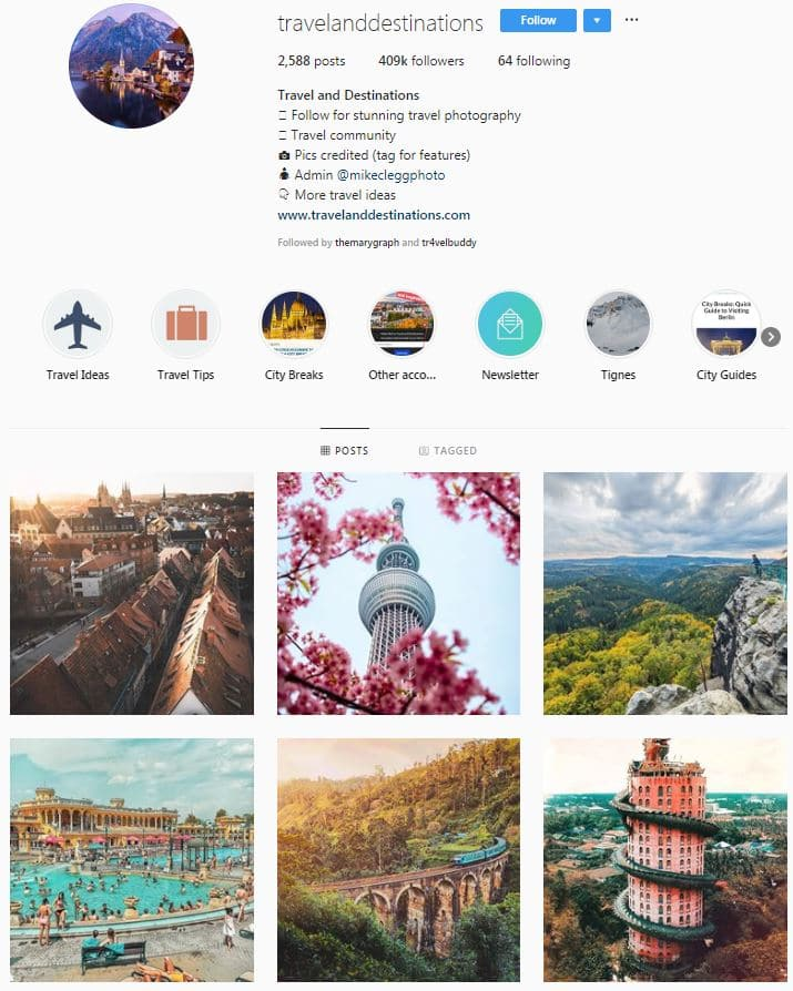 Instagram Accounts That Feature Travel photos- travelanddestinations