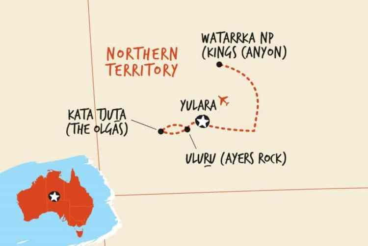Uluru to Kings Canyon Tour route