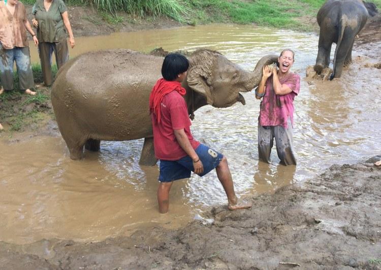 See Elephants Responsibly - elephant spraying mud at sanctuary