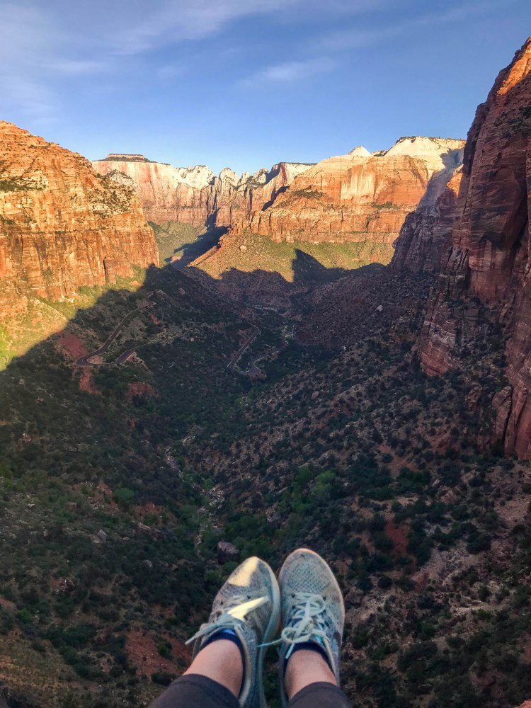 overlooking zion canyon in zion national park