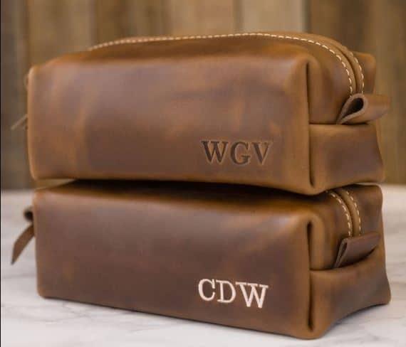 Gift guide for men Custom Monogrammed Leather Dopp Kit Bag