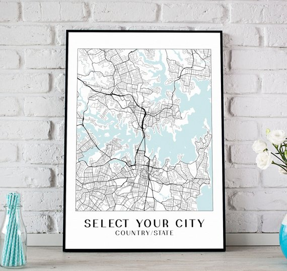 gifts for men City Map Print
