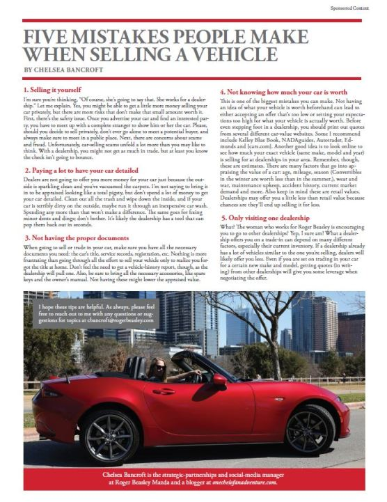 5 Mistakes People Make When Selling A Vehicle - Chelsea Bancroft for Roger Beasley Mazda in Austin Woman Magazine