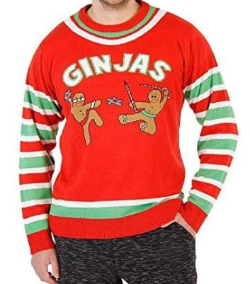 Fighting Ginjas Gingerbread Ninjas Ugly Christmas Sweater