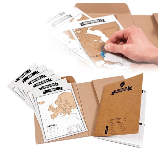Gifts for travellers: Travelogue Scratch off Map Page Travel Journal