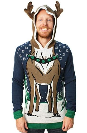 Best Ugly Christmas Holiday Sweaters on Amazon: Hooded Reindeer Sweater