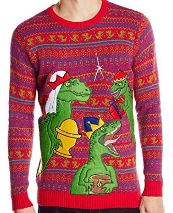 Best Ugly Christmas Holiday Sweaters on Amazon: Dinosaur Themed Ugly Christmas Sweaters