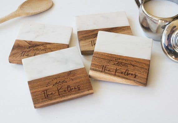 womens gift guide Marble and wood Engraved Coaster Set
