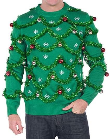 Best Ugly Christmas Holiday Sweaters on Amazon: Tipsy Elves Men's Gaudy Garland Sweater