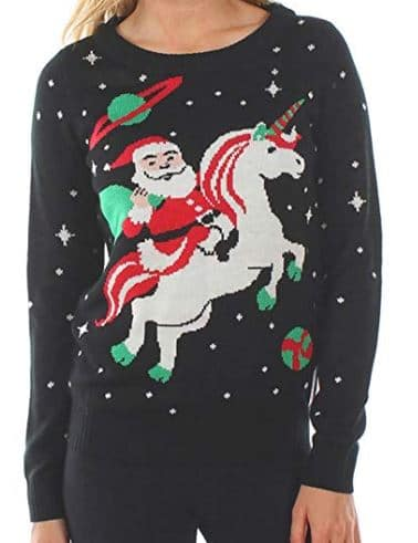 Best Ugly Christmas Holiday Sweaters on Amazon: Santa Unicorn Christmas Sweater