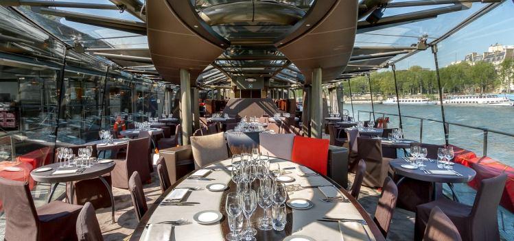 Bateaux Parisiens Seine River Scenic Lunch Cruise Boat Interior