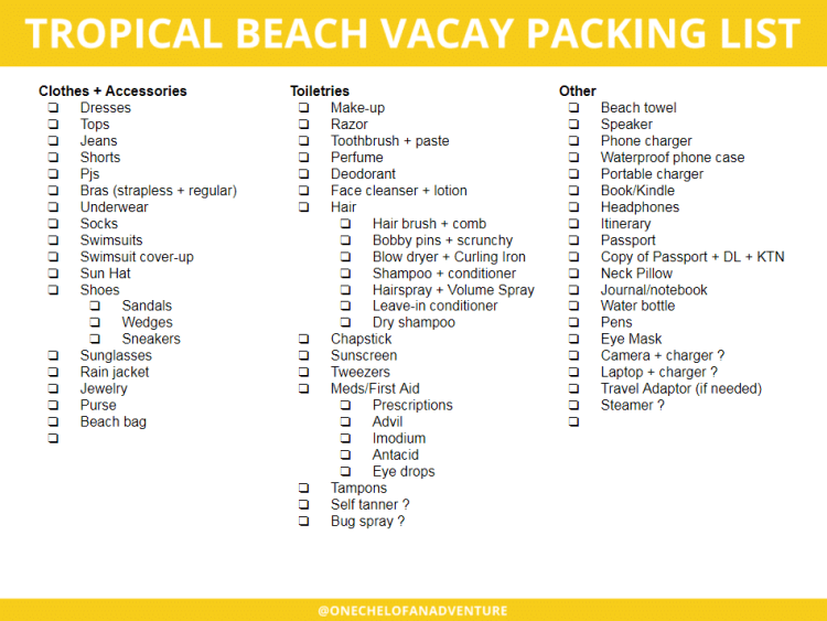 customizable tropical beach vacation packing check list