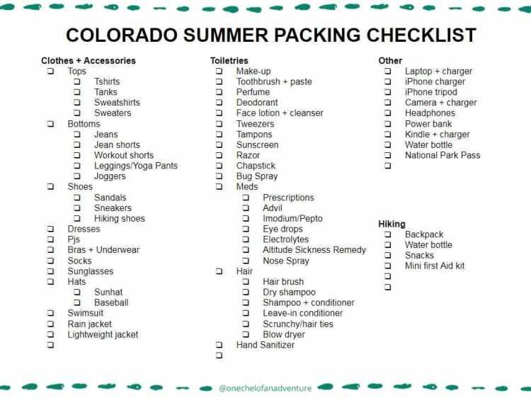 Customizable Colorado Summer Packing Checklist