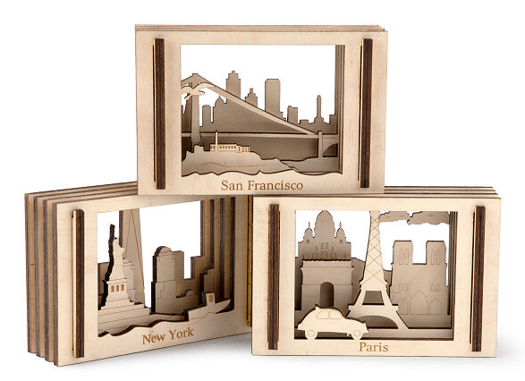 3D travel postcards at travel gift