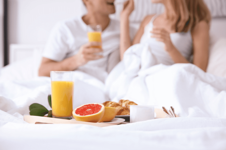 Breakfast in bed - Staycation ideas for couples