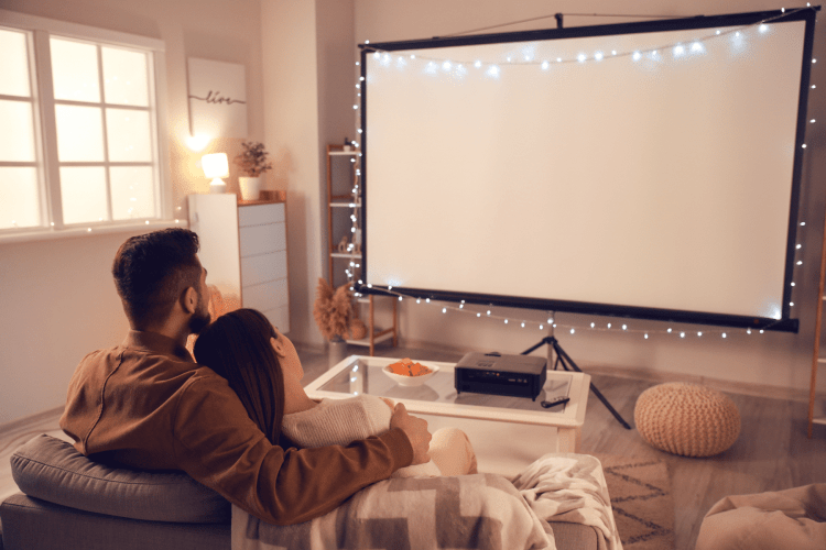 Movie Date Night At Home - projector screen