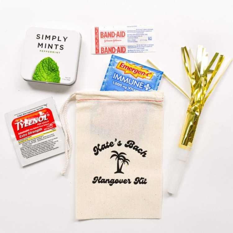 tropical Beach Bachelorette Party hangover kit
