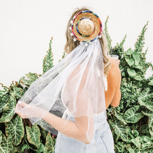 sombrero with veil for fiesta bachelorette party