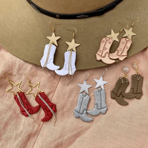 western bachelorette party cowboy boot earrings