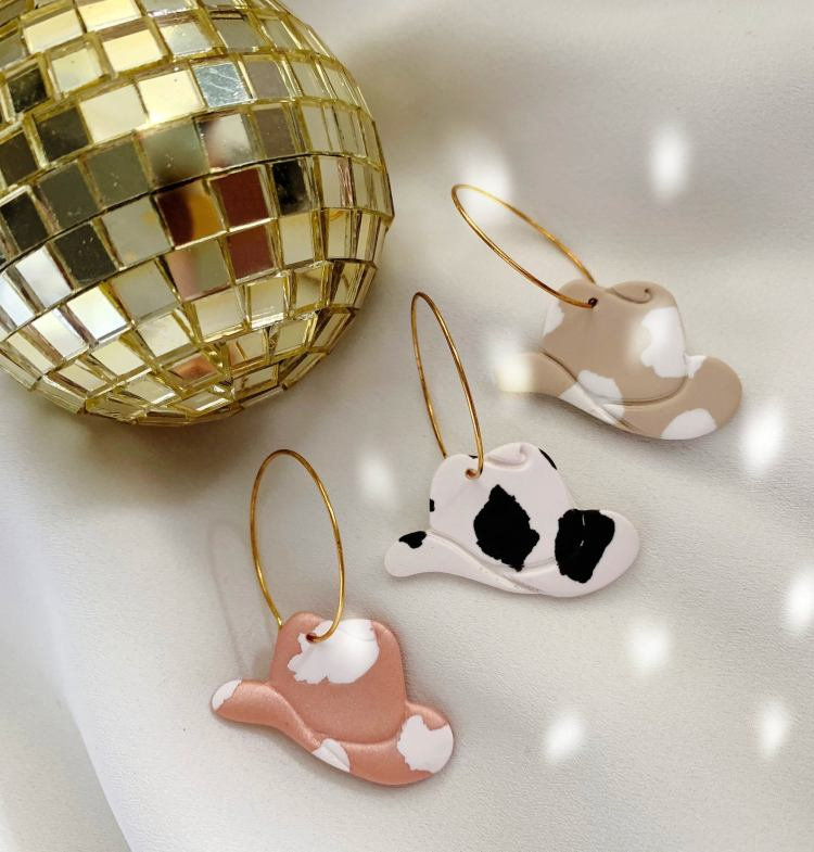 fun party cowgirl hat earrings