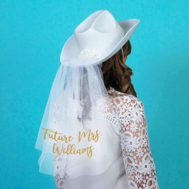 White bride cowboy hat with veil for Bachelorette Party