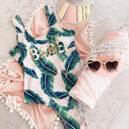 tropical Beach Bachelorette Party leaf swimsuit