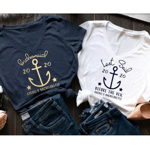 Nautical Bachelorette Party Ideas - custom matching shirts