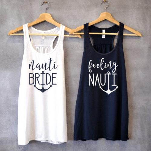 Nautical Bachelorette Party Ideas - matching tanks