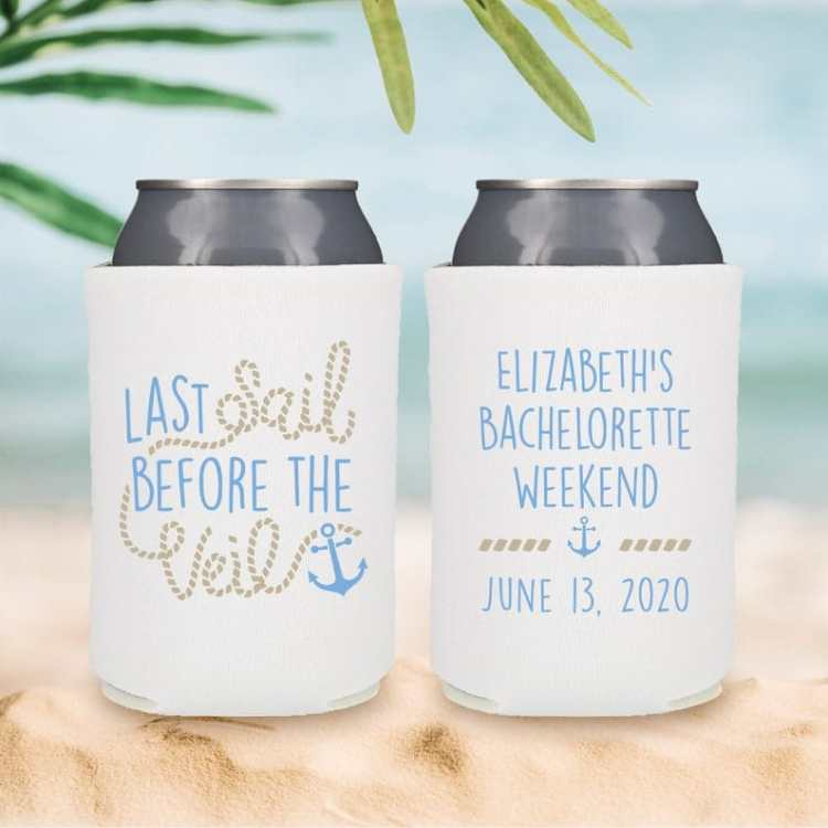 Nautical Bachelorette Party Ideas - custom white bride koozies