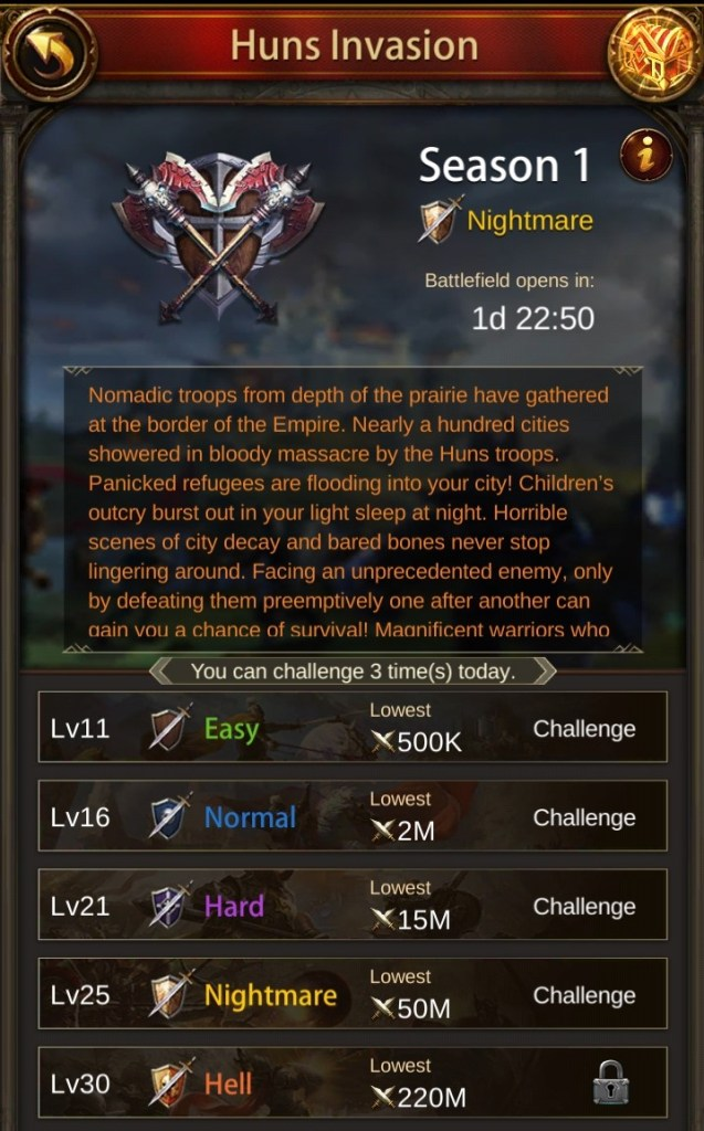 Huns Invasion Stage Requirements