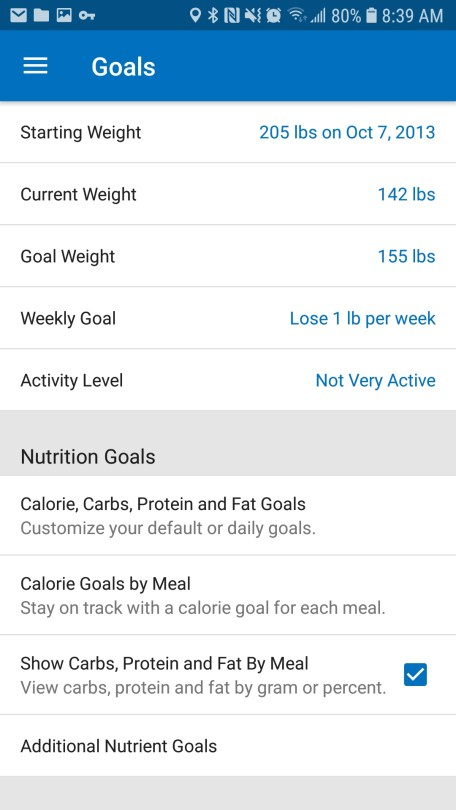 myfitnesspal setting the nutrient goals