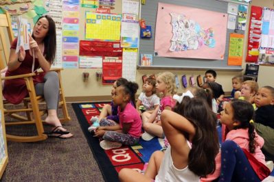 A kindergarten teacher reading a story for kindergarten students while showing them images from the story book