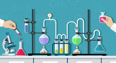 a cartoon of two scientists doing chemistry