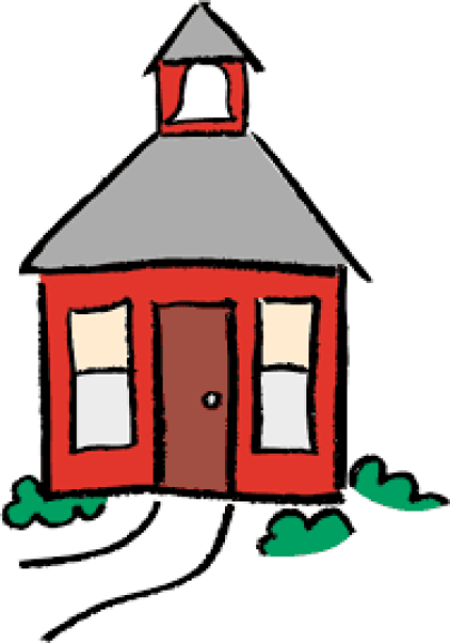 Image of a red cartoon schoolhouse