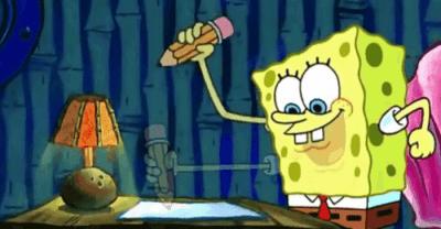 cartoon character Spongebob writing an essay