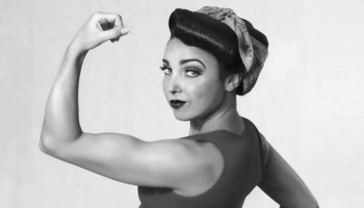 Strong woman photo in black and white