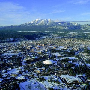 Flagstaff, AZ. is located near the San Francisco Peaks in AZ.