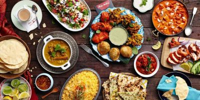 different prepared dishes of food