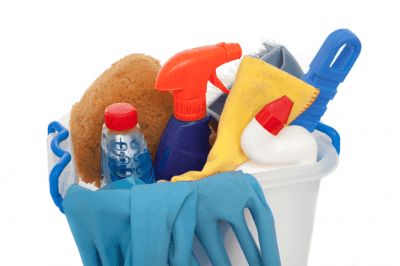 Different cleaning tools in a bucket