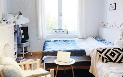 Blue and white themed bedroom