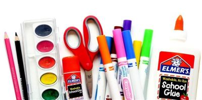 Different supplies including paint, glue, markers, scissors