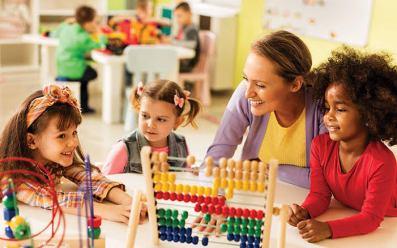 An elementary teacher with pupils