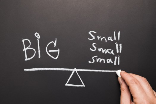 "scale of ""big"" and multiple ""small""'s showing that small things add up"