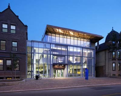 a well-lit campus building that hosts student services
