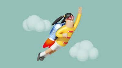 An animation image of a flying person