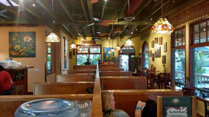 Customers enjoying their meals at the Schwebel Café